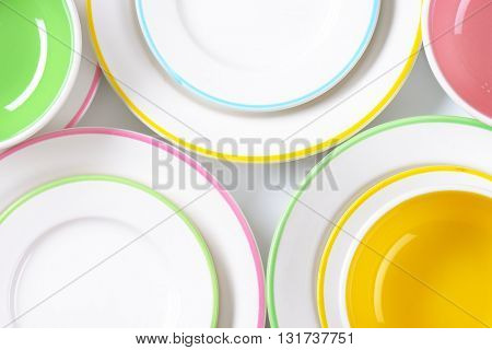 set of rimmed plates and bowls - close up