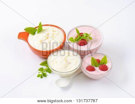 bowls of fruit yogurt on white background