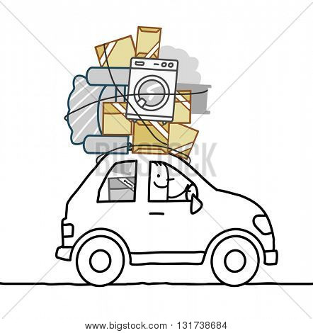 cartoon man moving in a car