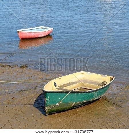 Two boats during low tide in Wells-next-the-sea