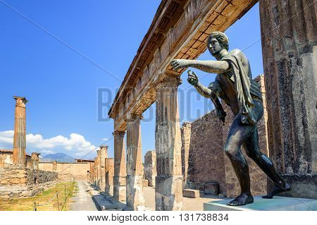 Ruins Of Apollo Temple, Pompeii, Naples, Italy