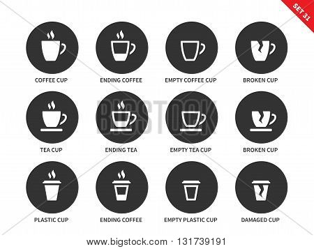 Coffee and tea cups vector icons set. Hot drinking and relax concept. Items for advertising in restaurants and cafes, ending coffee cups, plastic, empty and damaged cups. Isolated on white background