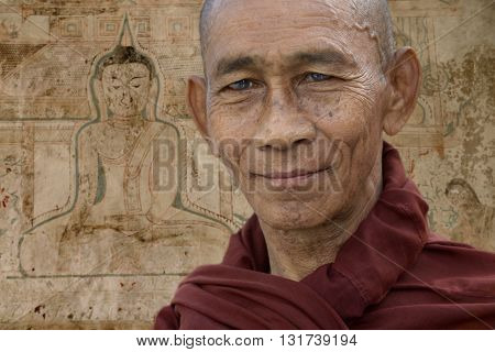 Bagan, Burma, september - 06 - 2016. Buddhist monk in front of ancient paintings of Buddha in Bagan