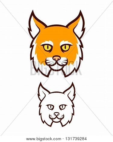 Cartoon bobcat head icon. Comic style big cat face color and line illustration.