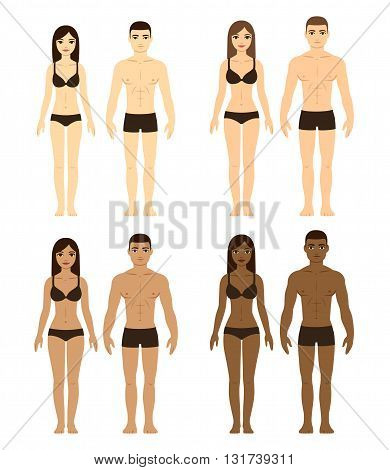 Set of diverse couples. Men and women with different complexions and body types. Ethnicity illustration.