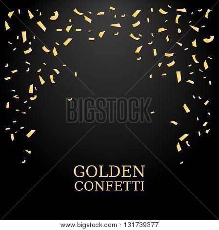 Golden Confetti. Gold glitter texture on a black background. Confetti Falling. Design element. Vector illustration