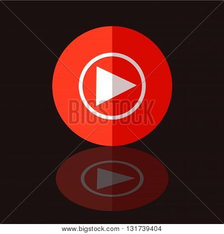 Flat Red Play Icon in Circle Frame for Web App Internet Smartphone Interface. Vector Button