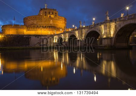 Castle Saint Angelo and bridge, reflecting onto the river Tiber at twilight, Rome, Italy, Europe