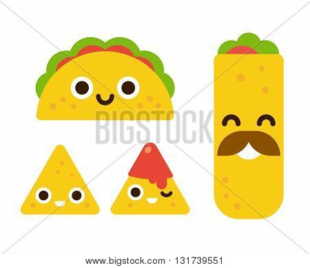 Mexican food with cute smiling faces. Taco burrito and nachos with salsa in flat cartoon geometric style.