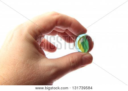Color Glass Sphere In The Human Hand