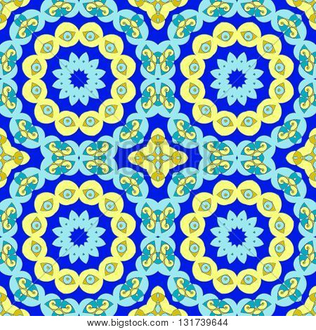 Abstract geometric seamless background. Conspicuous circles ornament with yellow, turquoise, light blue and dark blue elements, ornate and dreamy.