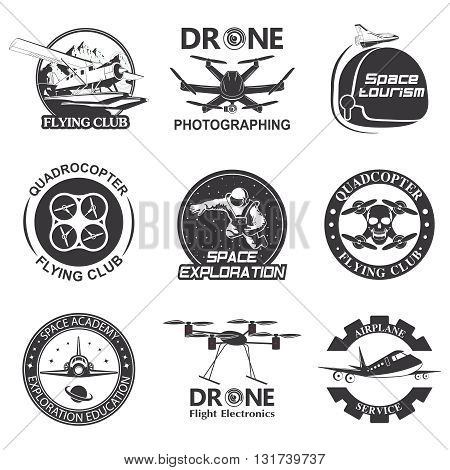 Set of vintage space, drone , aeronautics flight emblems, labels, badges and logos