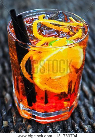 Glass ot the Aperol spritz a very popular italian longdrink