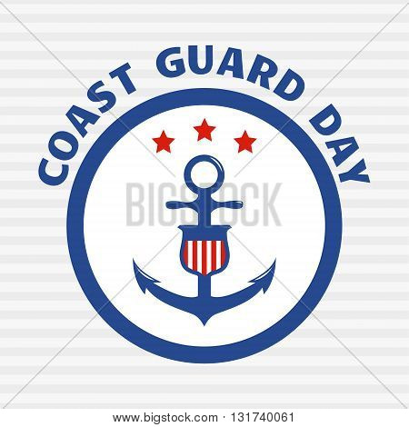Coast guard day greeting card. Symbol of coast guard on grey stripe background. Vector illustration.