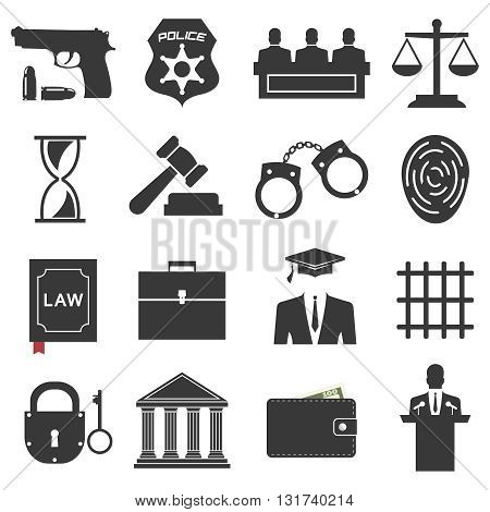 Legal, law and justice icon set. Vector Illustration