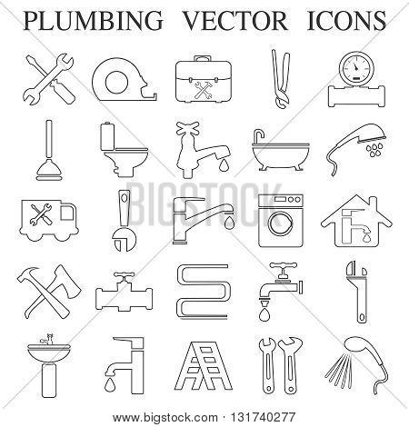 plumbing emblems, labels and design elements. Vector Illustration