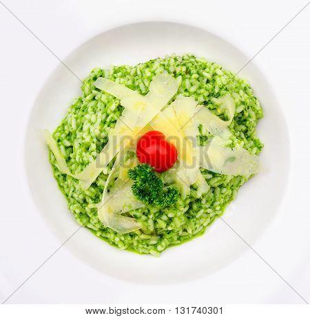 Risotto Al Pesto With Parmesan Cheese
