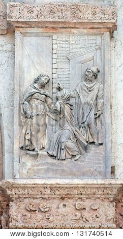 BOLOGNA, ITALY - JUNE 04: Visitation of the Virgin Mary by Giacomo Scilla, left door of San Petronio Basilica in Bologna, Italy, on June 04, 2015