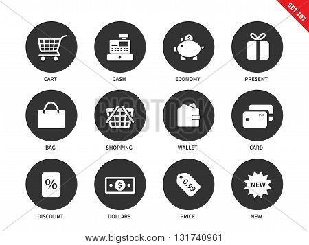 Shopping vector icons set. Consumerism and purchasing concept. Money and cash items, card, cash, economy, present, bag, wallet, card, discount, dollar, price. Isolated on white background