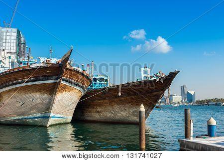Traditional Arabic Cargo Boats At Dubai Creek, Uae