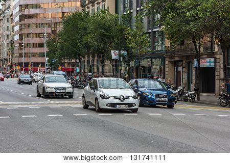 Cars Traffic On Barcelona Street, Spain