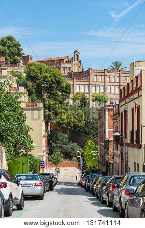 Cars Parking On Barcelona Street