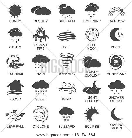 Natural disaster icons black set with tsunami snow storm thunder isolated vector illustration