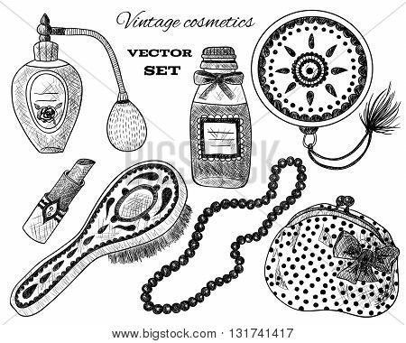 Vintage cosmetics. Perfume, lipstick, hand mirror, comb, necklace, purse. Cosmetic set on white background. Black and white illustration