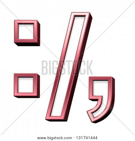 Colon, semicolon, period, comma from white with red shiny frame alphabet set, isolated on white. 3D illustration.