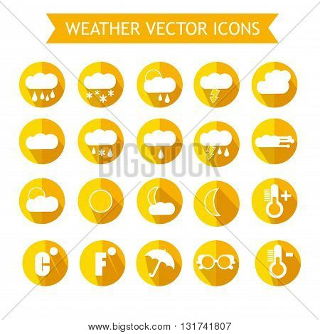 Weather ForecastIcon Set. Orange and Yellow Colors. Vector Illustration