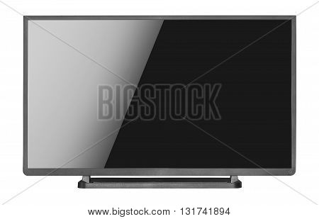 Modern blank flat screen tv set, isolated on a white background.