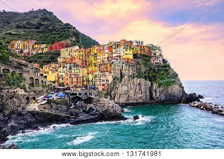 Colorful Houses On A Rock In Manarola, Cinque Terre, Italy
