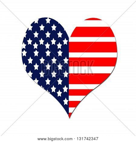 A heart shaped American flag isolated on white background.