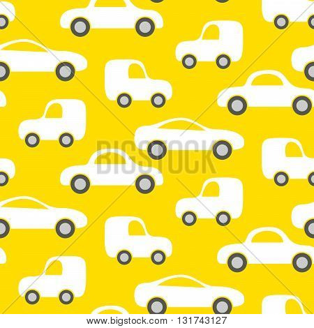 Car cute baby vector seamless pattern. Kid fabric and apparel design. Bright yellow vans vehicles on white.