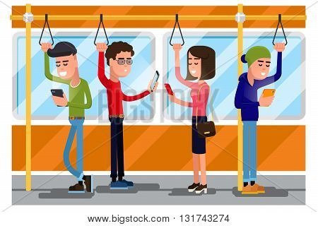 Young people using smartphone socializing in public transport. Vector concept background. Smartphone in transport,  using smartphone public, smartphone in train illustration