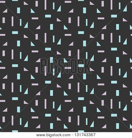 Abstract geometric shapes dark seamless pattern. Vintage geometry inspired seamless lilac and blue on dark background.