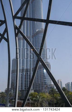 DUBAI, UAE - MAY 11, 2016:  view on Burj Khalifa tower from metro link