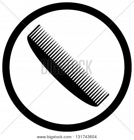Comb icon black white. Comb for hair and beauty tool. Vector flat design illustration