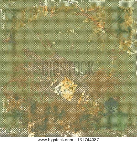 Old school background or texture with vintage style grunge elements and different color patterns: yellow (beige); brown; gray; green