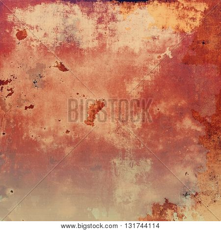 Grunge background with vintage style graphic elements, retro feeling composition and different color patterns: yellow (beige); brown; red (orange); pink