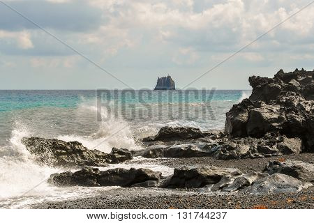 Rough water on the shore of Stromboli