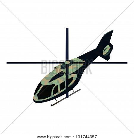 Isometric military helicoper vector illustration for infographics and game design