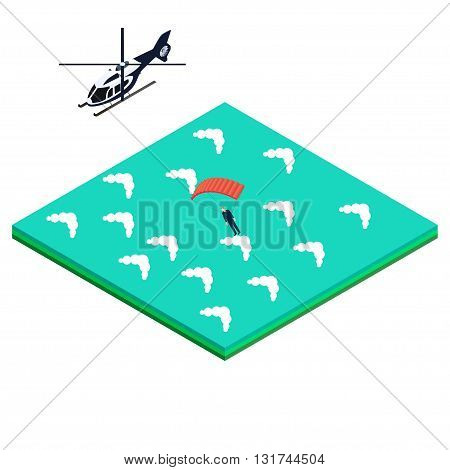 skydiver jumps out of the helicopter into the ocean. Isometric vector illustration for infographics, brochures and websites