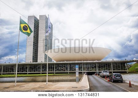 Brasilia, Brazil - November 20, 2015: View of Brazilian National Congress building, the legislative body of Brazil's federal government in Brasilia, capital of Brazil.