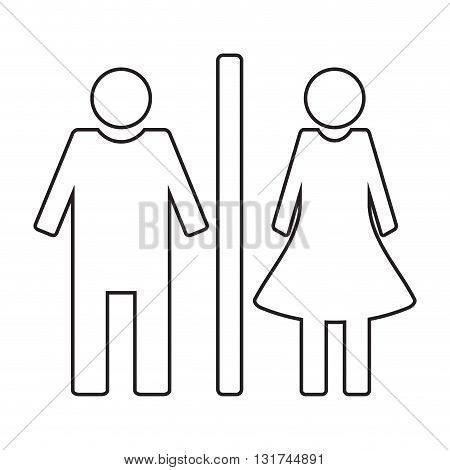 Toilet icon wc linear style. Toilet sign and wc toilet icon for door. Vector illustration
