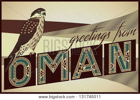 Greetings From OMAN Card - Block Ornamental Marquetry Style Typography With An Arabian Falcon Over A Sand Dunes Background