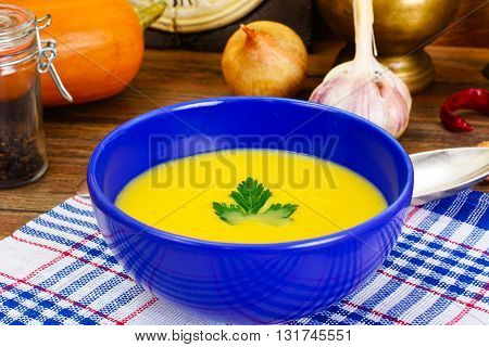 Carrot, Pumpkin Cream Soup with Egg Diet Food. Studio Photo