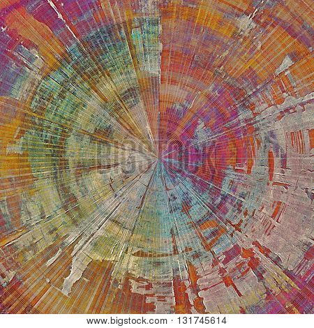 Spherical tinted vintage texture, aged decorative grunge background with traditional antique elements and different color patterns: yellow (beige); brown; green; blue; red (orange); purple (violet)