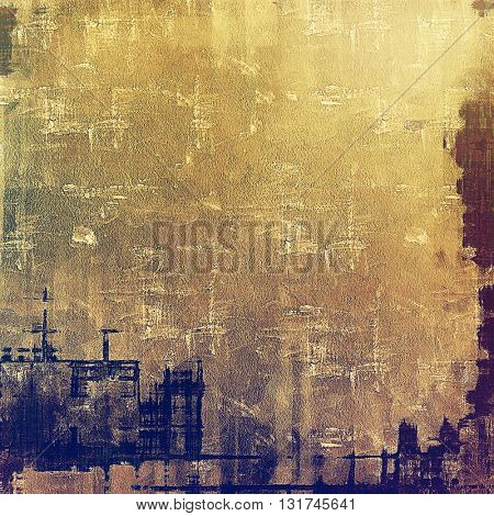 Oldest vintage background in grunge style. Ancient texture with different color patterns: yellow (beige); brown; gray; blue; purple (violet)