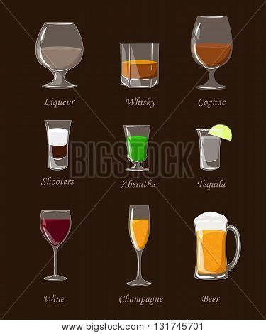 Alcohol drinks set different alcohol bottle and glasses. Alcohol drinks and beverages. Flat design style. Cognac wine tequila whisky liqueur absinthe